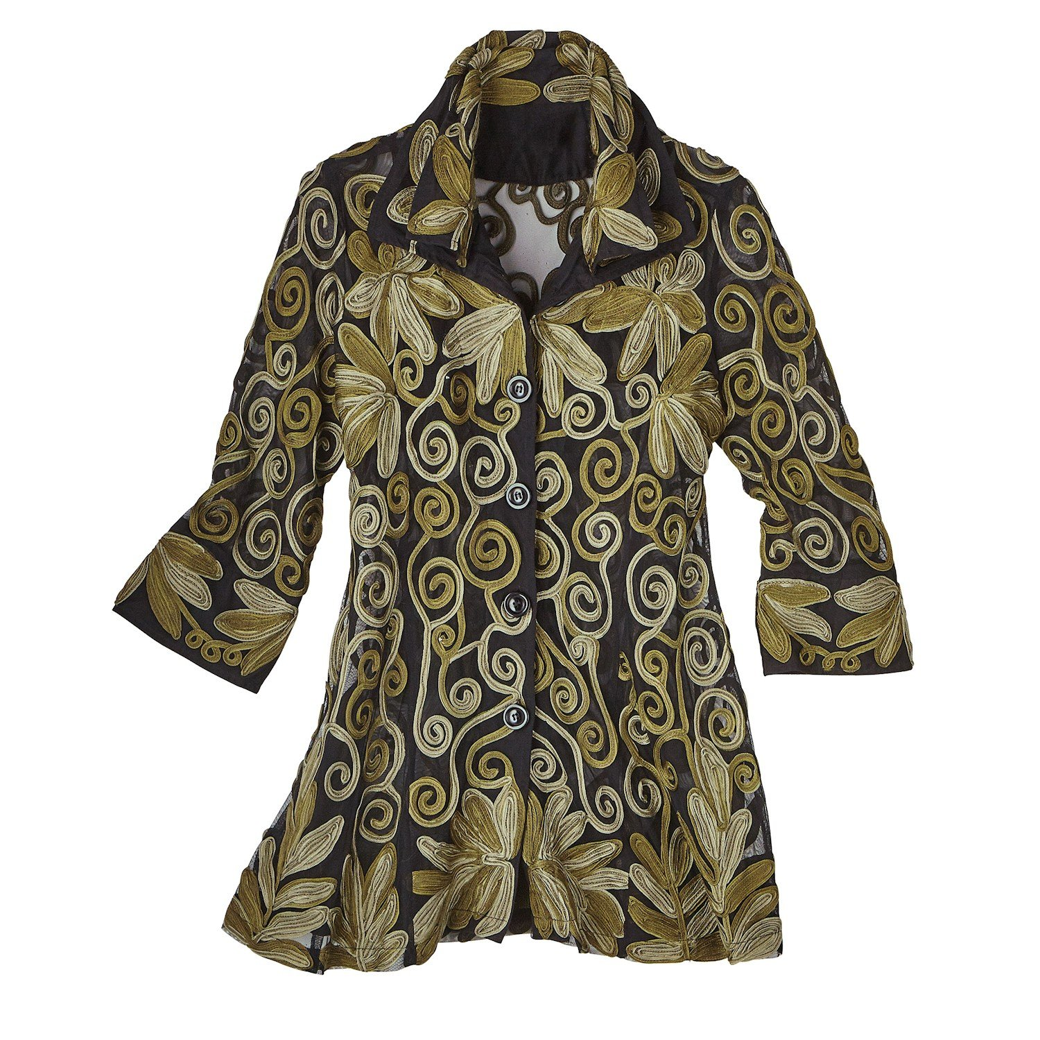 Parsley & Sage Women's Button-Down Tunic Shirt - All-Over Embroidery Metallic Crewelwork-Large