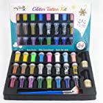 Maydear Holographic Chunky Glitter Tattoo Kit with 24 Deluxe Glitter Shake