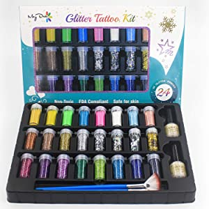 Maydear Holographic Chunky Glitter Tattoo Kit with 24 Deluxe Glitter Shake Jars & 40 Stencils for Art Crafts Painting Scrapbooking and Temporary Tattoo, Glitter Slime Making