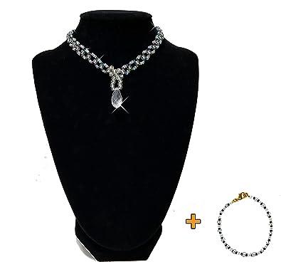 87bed7349980 12  quot Cuello Collar ajustable Tamaño. Strand tejida con imitación de  pequeñas perlas en