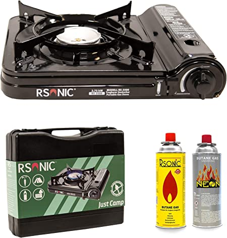 RSonic Hornillo de gas portátil con maletín de transporte | Edición Slim | Potencia turbo 2,75 kW | Cocina de camping, cocina de mesa | Negro