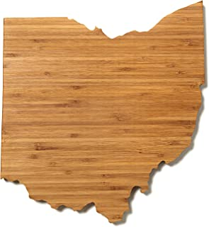 """product image for AHeirloom: The Original Ohio State Shaped Serving & Cutting Board. (As Seen in O Magazine, Good Morning America, Real Simple, Brides, Knot.) Made in the USA from Organic Bamboo, Large 15"""""""