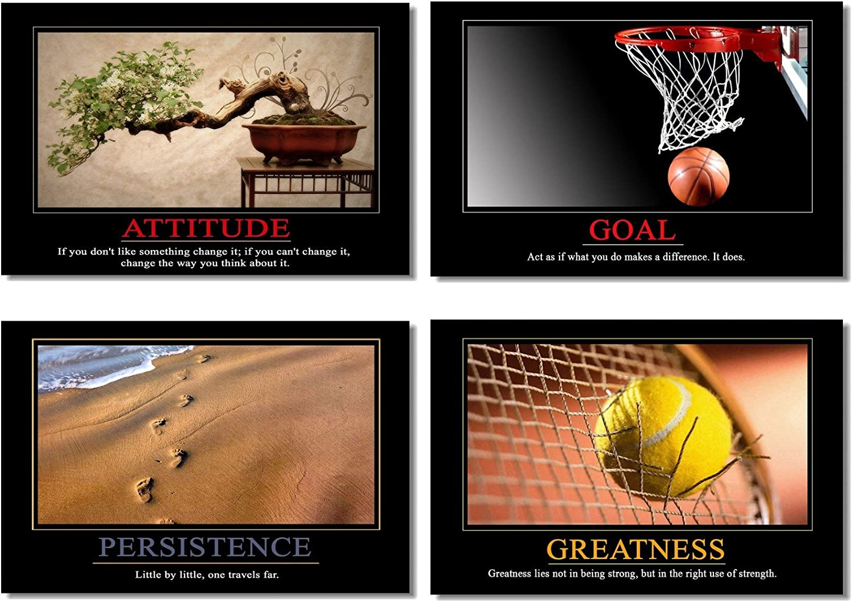 "4Pcs x Motivational Self Positive Office Quotes Inspirational Success Teamwork Poster Fabric Prints Wall Photos 26x17"" (66x44cm) (9-12)"
