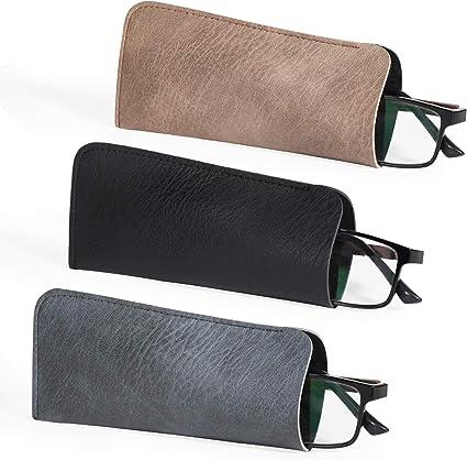 Hifot Funda Gafas 3 Piezas PU Cuero Suaves Estuche Gafas Lectura Almacenaje Caso Bolsa Gafas para Hombre Mujer