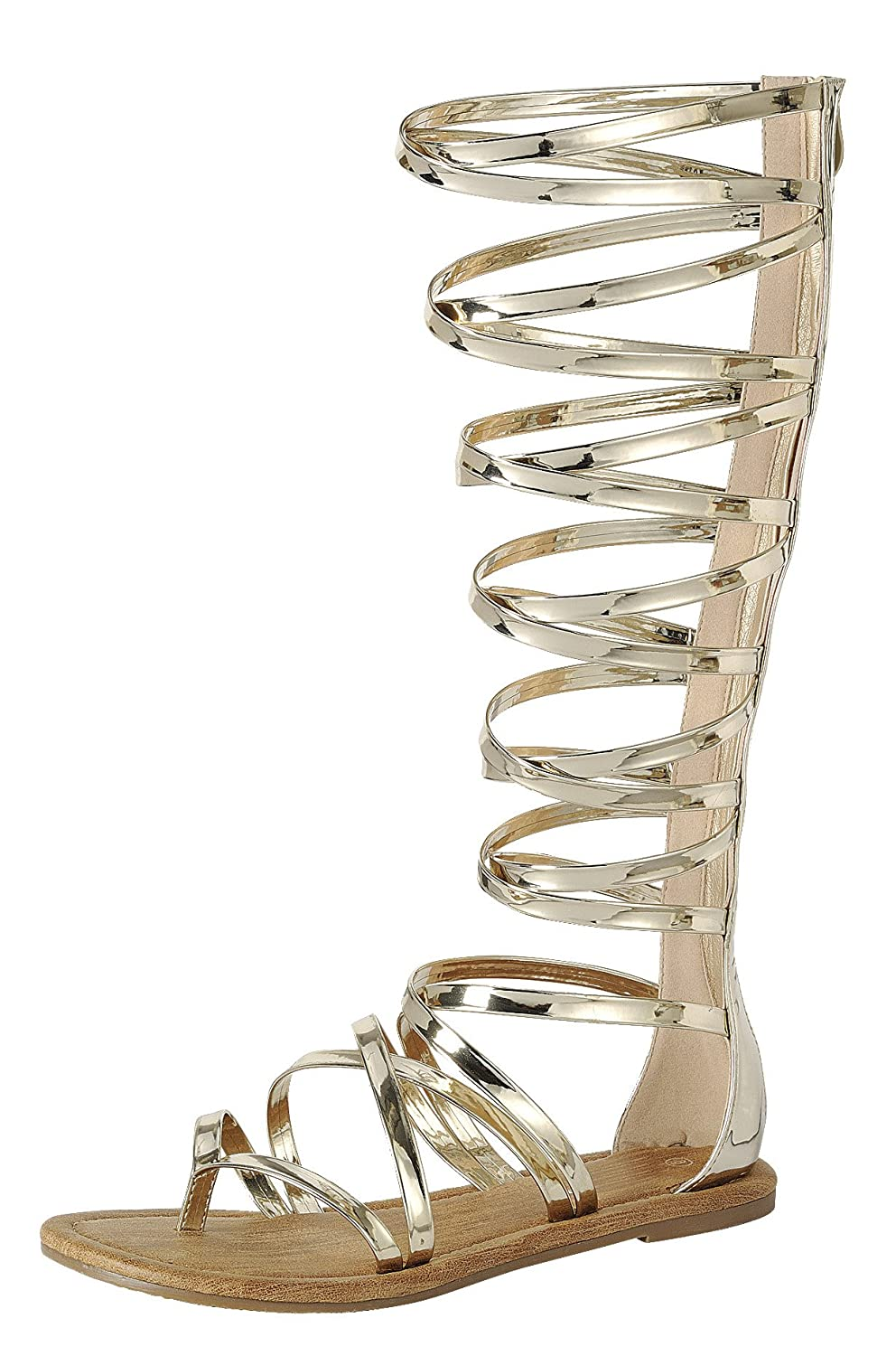 Women's Gold Gladiator Open Crisscross Strappy Knee-High Flat Sandals - DeluxeAdultCostumes.com