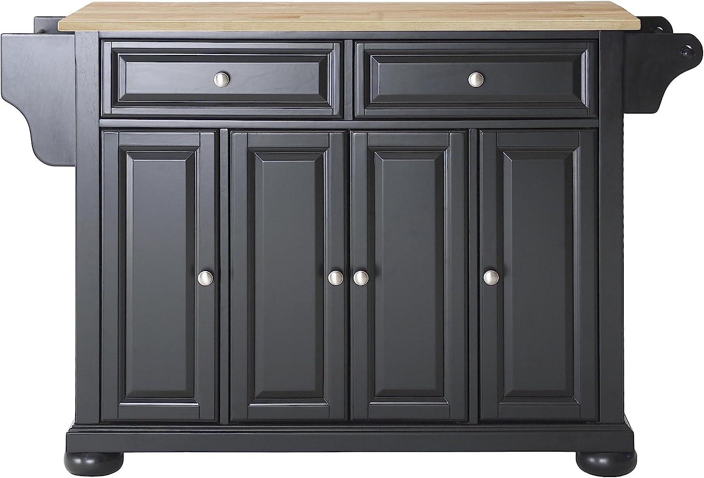 Crosley Furniture Alexandria Full Size Kitchen Island with Natural Wood Top, Black