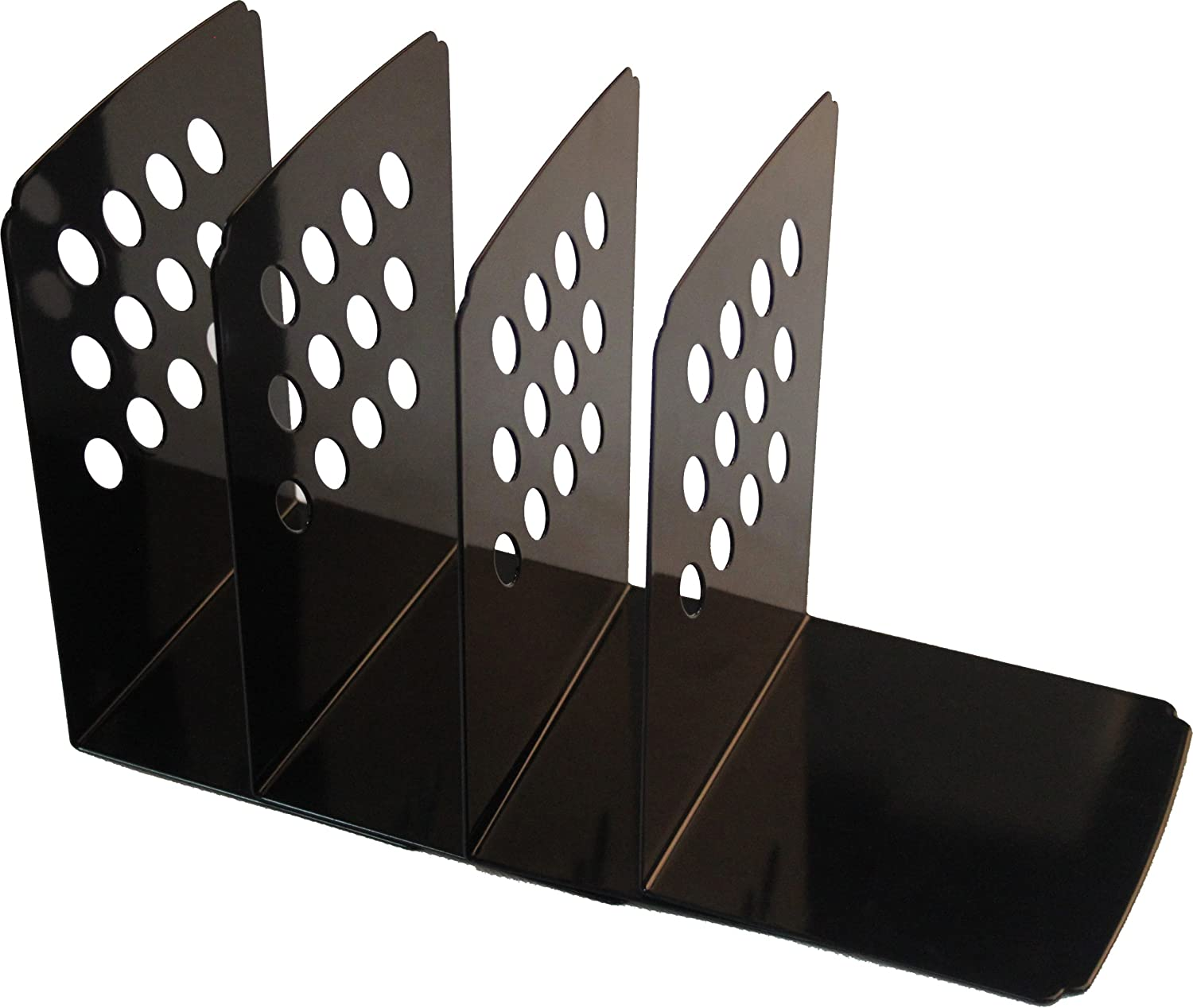 DELI Simply Style Heavy Duty Metal Bookends, 2 Pairs per Package, Black or White Color (6.8 inch Black)