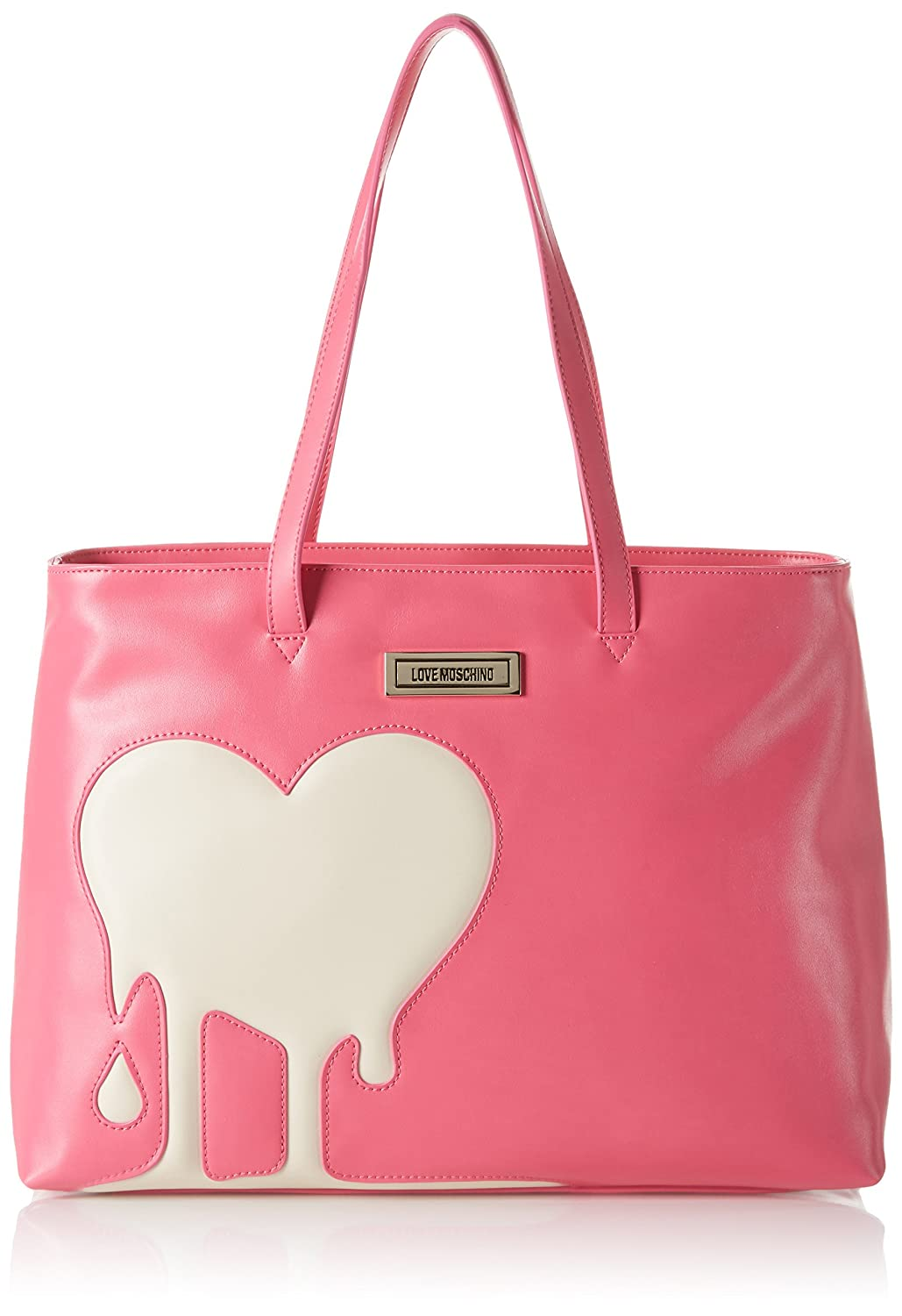 Love Moschino Women's JC4097 Tote, Multicolor (Pink/Ivory), 11x30x45 cm (B x H x T)