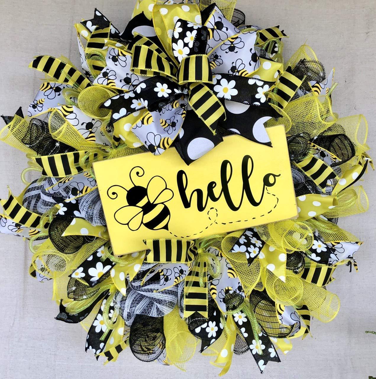 Bumble Bee Wreath | Everyday Wreath Decor | Welcome Door Hanger | Farmhouse  Decor | FREE Shipping | Burlap Bowtique