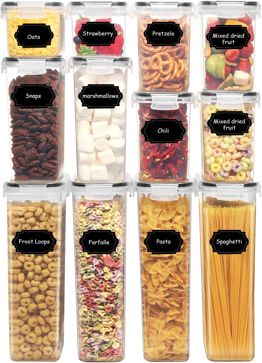 PRAKI Cereal Containers Storage Set, 12 PCS Airtight Food Storage Container with Lids, BPA Free Plastic, Kitchen Pantry Organization, ideal for Cereal, Flour, Sugar, Spaghetti, with Labels, Marker