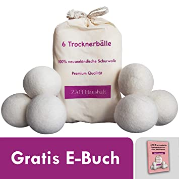 Trocknerbälle 6er Pack für Wäschetrockner mit kostenlosem