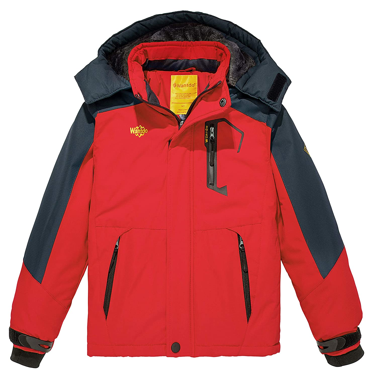 Wantdo Boy's Hooded Ski Fleece Jacket Waterproof Raincoats Outwear