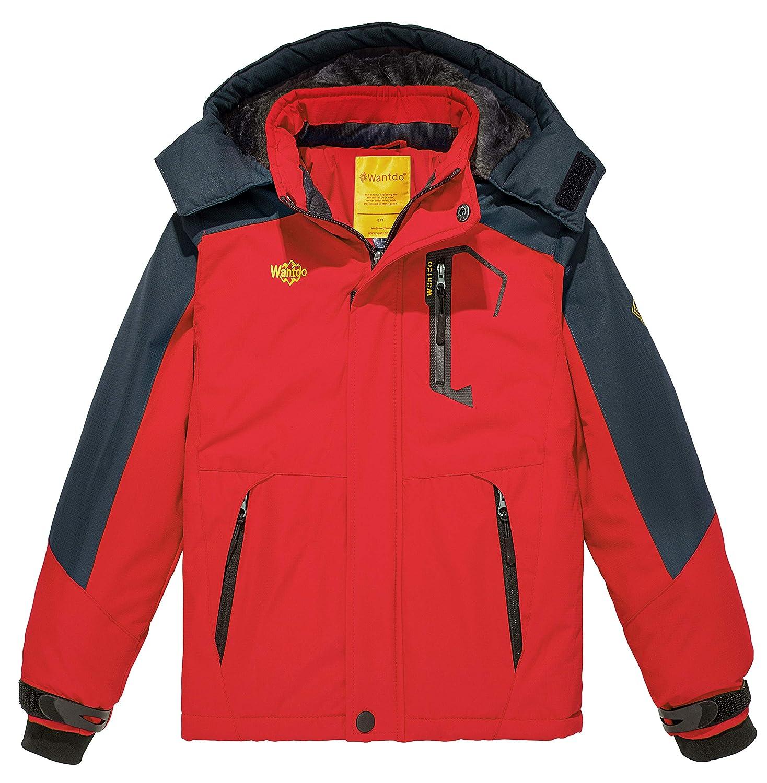 Wantdo Jungen Kapuzen-Ski-Fleecejacke Wasserdichte Regenmäntel Outwear