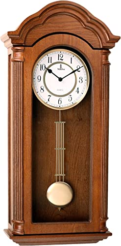 Pendulum Wall Clock, Silent Decorative Wood Clock with Swinging Pendulum, Battery Operated, Large Carved Wooden Design, for Living Room, Kitchen, Office Home D cor, 26 x 12 inches