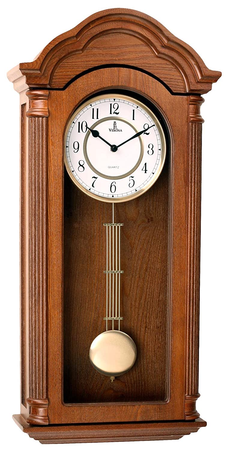 Pendulum Wall Clock, Silent Decorative Wood Clock with Swinging Pendulum, Battery Operated, Large Carved Wooden Design, for Living Room, Kitchen, Office & Home Décor, 26 x 12 inches