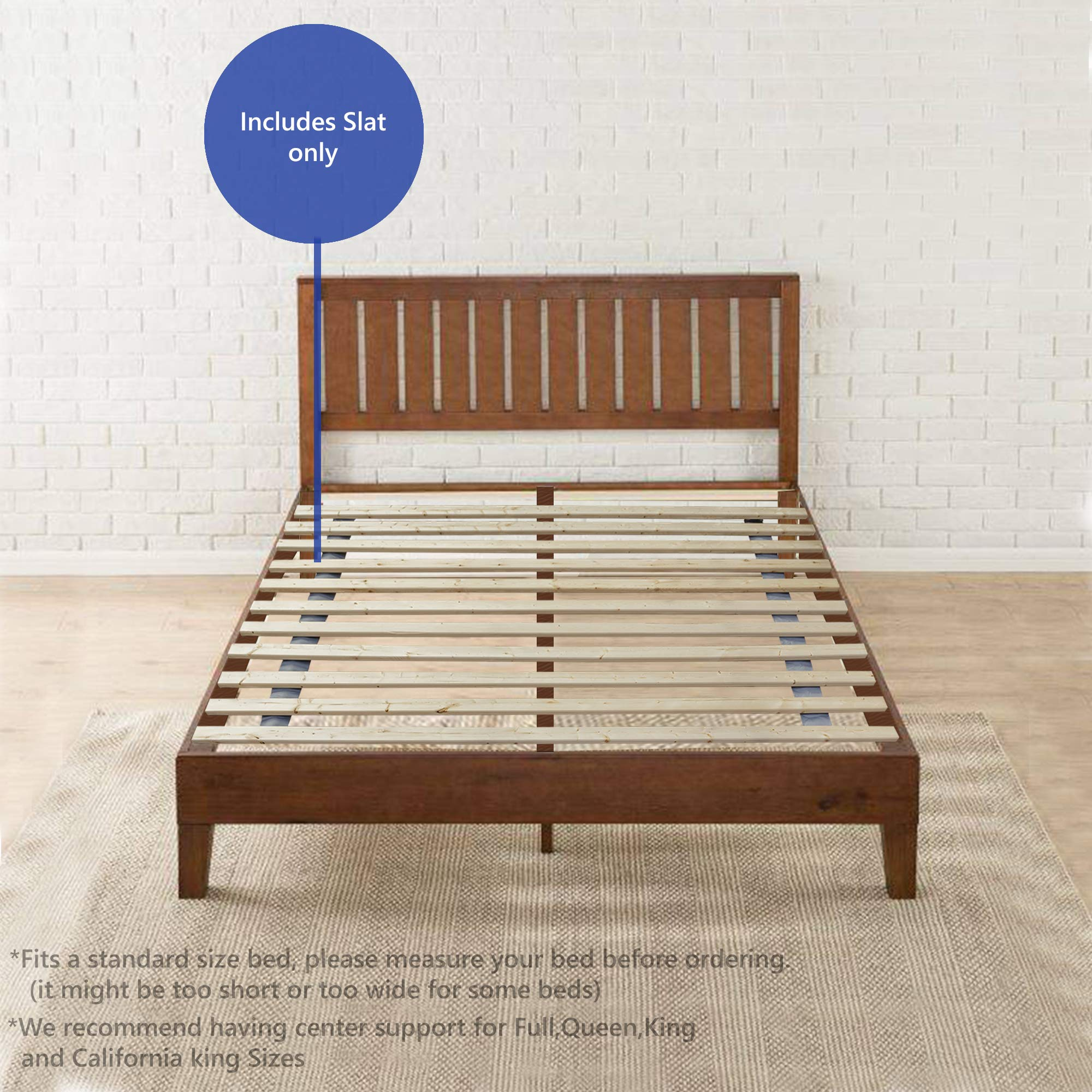 Mayton Twin Size Slats Solid Wood Bed Support Bunkie Board, 39x75 by Mayton