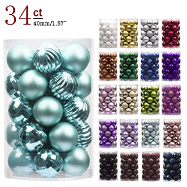 """KI Store 34ct Christmas Ball Ornaments Shatterproof Christmas Decorations Tree Balls Small for Holiday Wedding Party Decoration, Tree Ornaments Hooks Included 1.57"""" (40mm Teal)"""