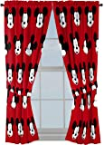 """Jay Franco Disney Mickey Mouse Cute Faces 63"""" inch Drapes 4 Piece Set - Beautiful Room Décor & Easy Set up - Window Curtains Include 2 Panels & 2 Tiebacks (Official Disney Product)"""