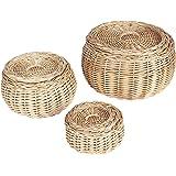 Household Essentials Round Vanity Wicker Storage Baskets with Lids, 3 Pc Set, Light Brown