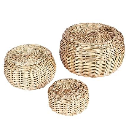 Good Household Essentials Round Vanity Wicker Storage Baskets With Lids, 3 Pc  Set, Light Brown