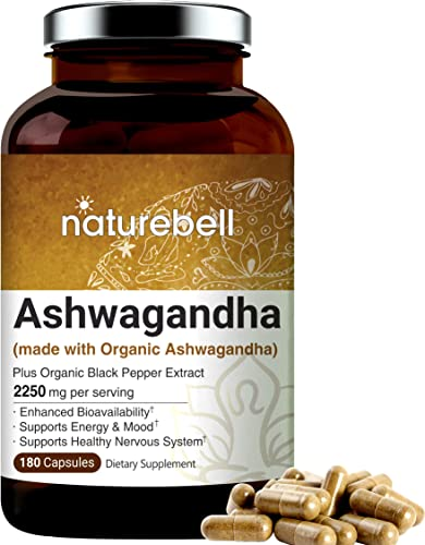 Ashwagandha Powder Capsules, 2250mg Per Serving Made with Ashwagandha Organic Powder and Black Pepper , 180 Counts, Supports Healthy Nervous System, Mood, Memory and Brain Health, No GMOs