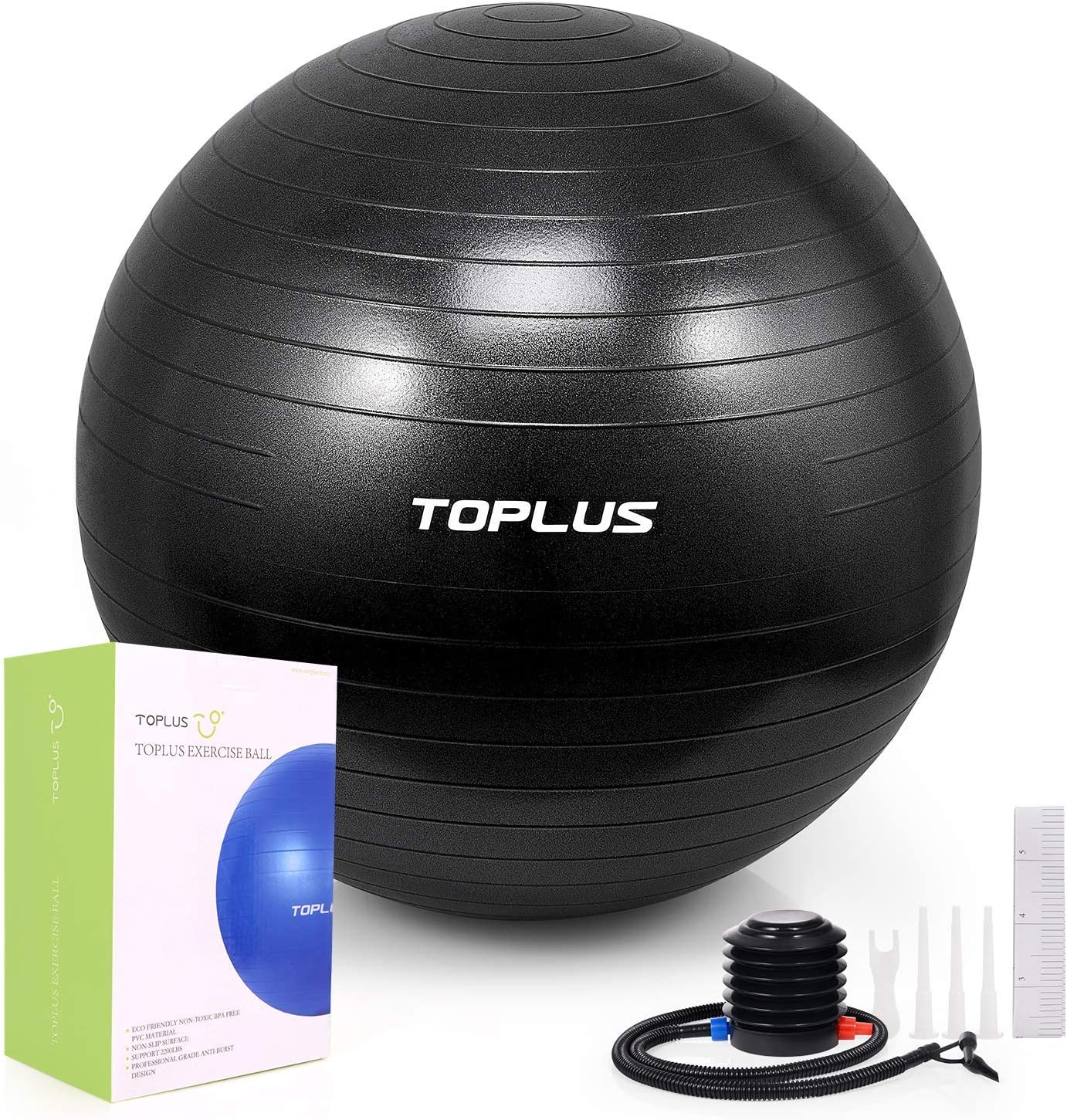 TOPLUS Exercise Ball (Multiple Sizes) Thick Yoga Ball Chair for Fitness, Stability, Balance, Pilates - Anti Burst Supports 2200lbs - Includes Quick ...