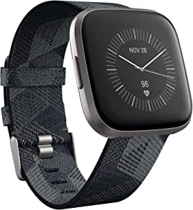 Fitbit Versa 2 Special Edition Health and Fitness Smartwatch with Heart Rate, Music, Alexa Built-in, Sleep and Swim Tracking, Smoke Woven/Mist Grey, One Size (S and L Bands Included)