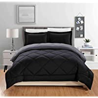 All American Collection Super Soft Reversible Down Alternative Comforter Set, Stitched Geometrical Diamond Pattern