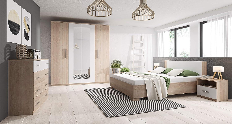 Chambre à Coucher complète pas cher avec lit 160x200, Commode et 2 chevets