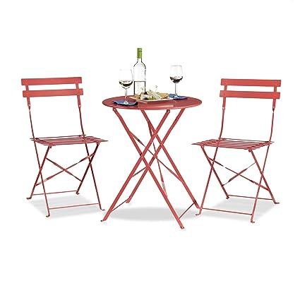 Bistrotisch Mit Stühlen Outdoor.Relaxdays Bistrotisch Mit 2 Stühlen Klappbar Rund 60x60 Cm Metall Outdoor Garten Bistroset 3 Teilig Wetterfest Rot