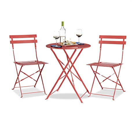 Amazon.com: Relaxdays Bistro Mesa Con 2 Sillas, plegable ...