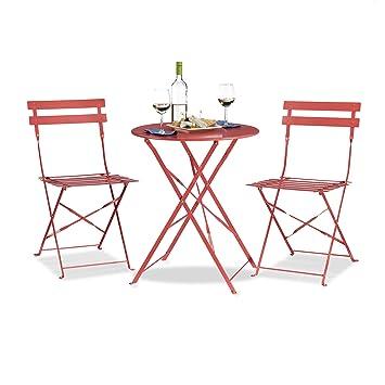 Relaxdays Bistrotisch Mit 2 Stühlen, Klappbar, Rund 60x60 Cm, Metall,  Outdoor,