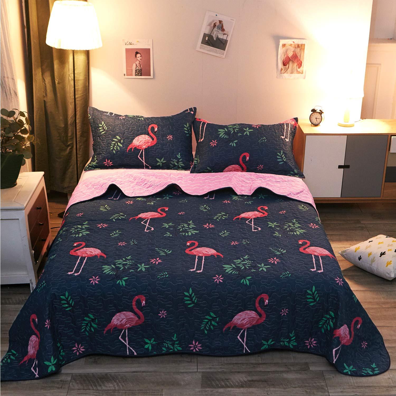 LAMEJOR Quilt Set with Shams Queen Size Comforter Set 3-Piece Flamingo as Bedspread/Coverlet/Bed Cover Color Blue
