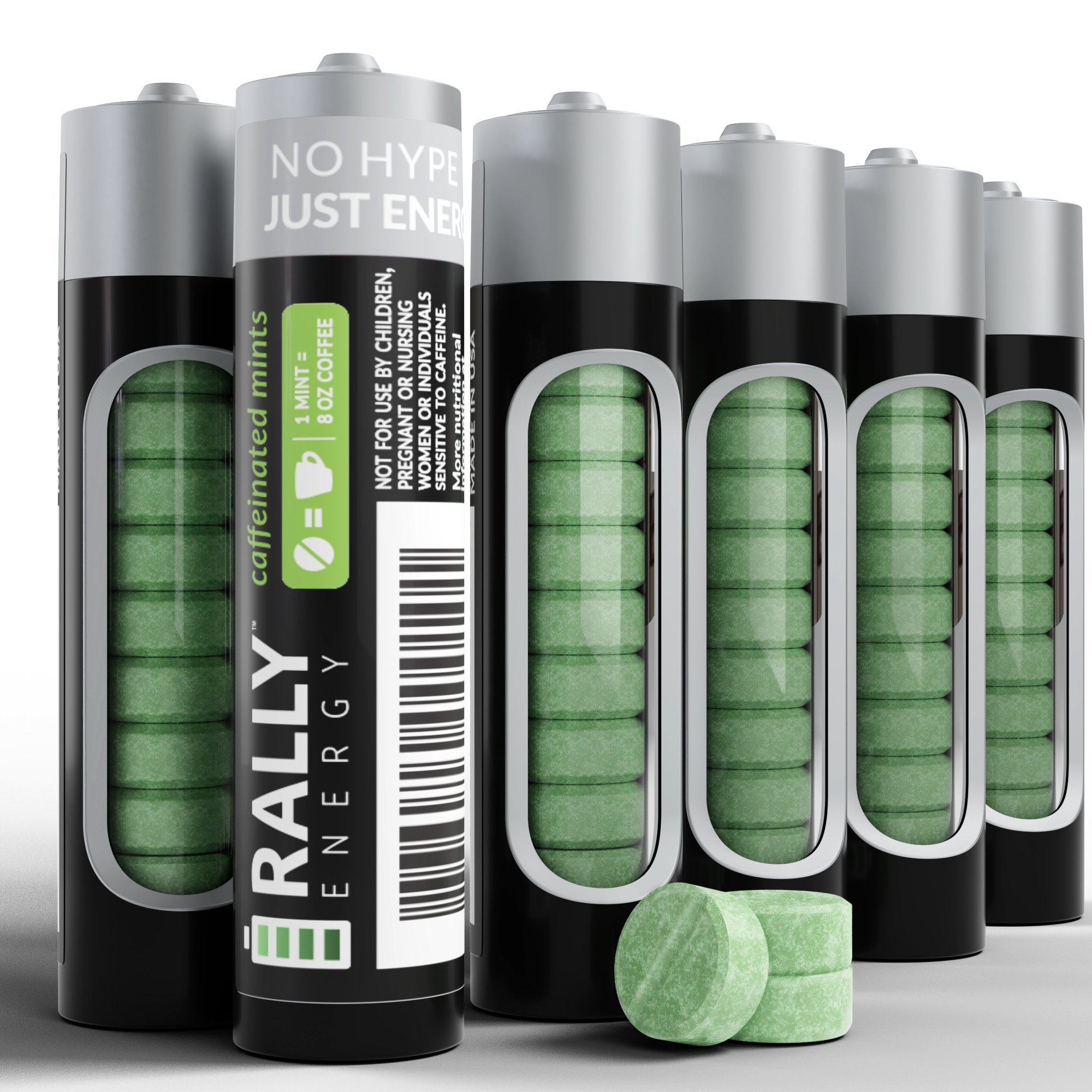Caffeine Mints by Rally, 60milligram Caffeine, Instant Energy, Fresh Breath Caffeinated Mints, 0 Sugar, Natural Peppermint Flavor (6 Packs, 60 Mint) by Rally Energy