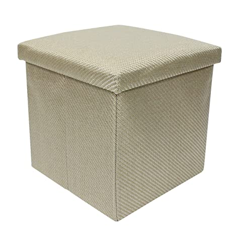 2 Cubic Foot Extra Padded Storage Ottoman With Lift Top, Beige Woven Fabric,