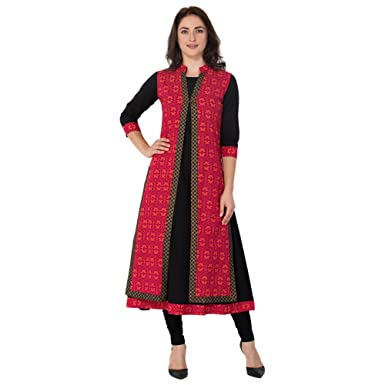 2711f65fb3ae M&D Women's Cotton Printed Double Layer Kurti (Pink and Blue ...