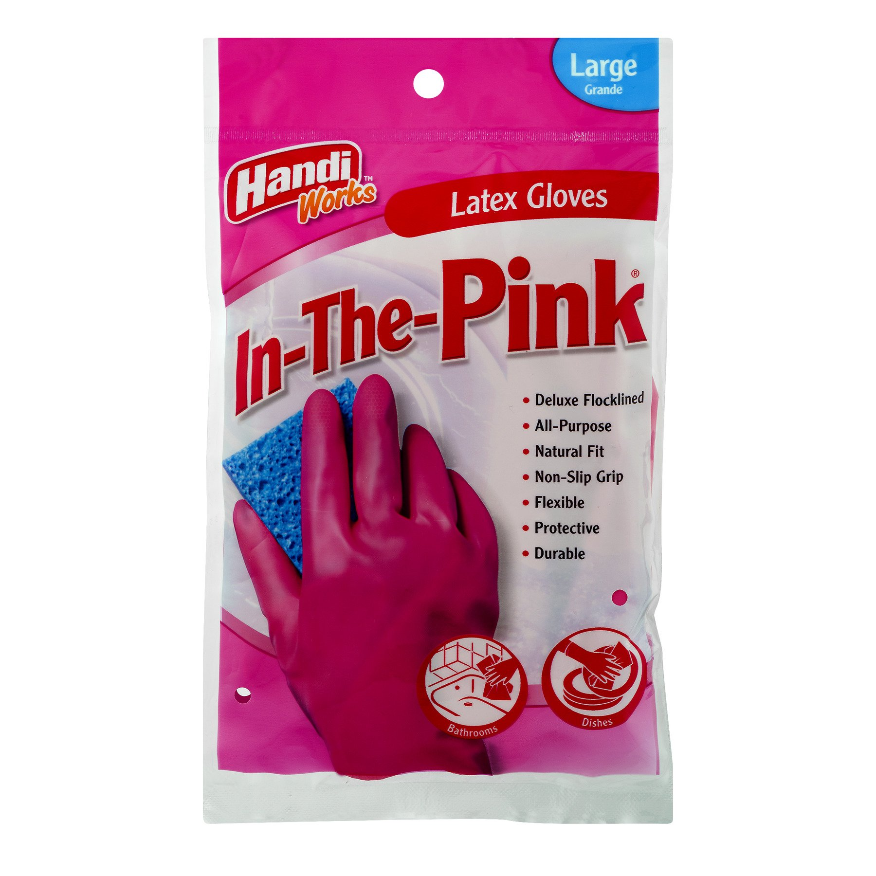 Handi-Works In The Pink, 12 Pairs of LARGE Pink Latex Household Gloves, 00504 by Glove Specialties