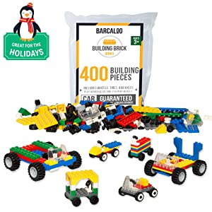 Barcaloo 400 Piece Wheels, Tires, and Axles Set - Building Brick Compatible Play Kit