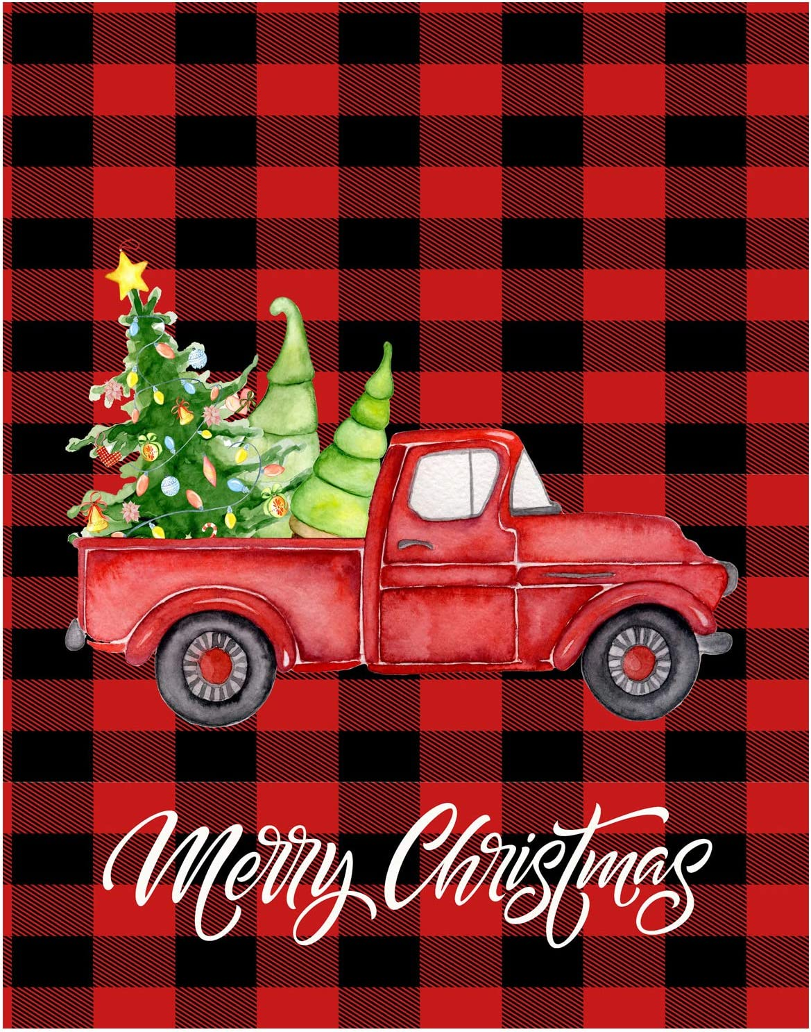 "Wamika Christmas Red Truck Double Sided Garden Yard Flag 28"" x 40"", Red Black Buffalo Check Plaid Xmas New Year Decorative Garden Flag Banner for Outdoor Home Decor Party"