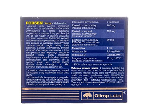 Amazon.com: OLIMP - Forsen Forte with Melatonina - 30 Capsules: Health & Personal Care