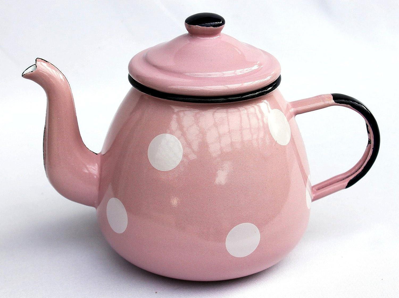 théière 582AB émaillée 14cm eaupot 850 ml. pot Coffee pot émail retro (orange) DanDiBo