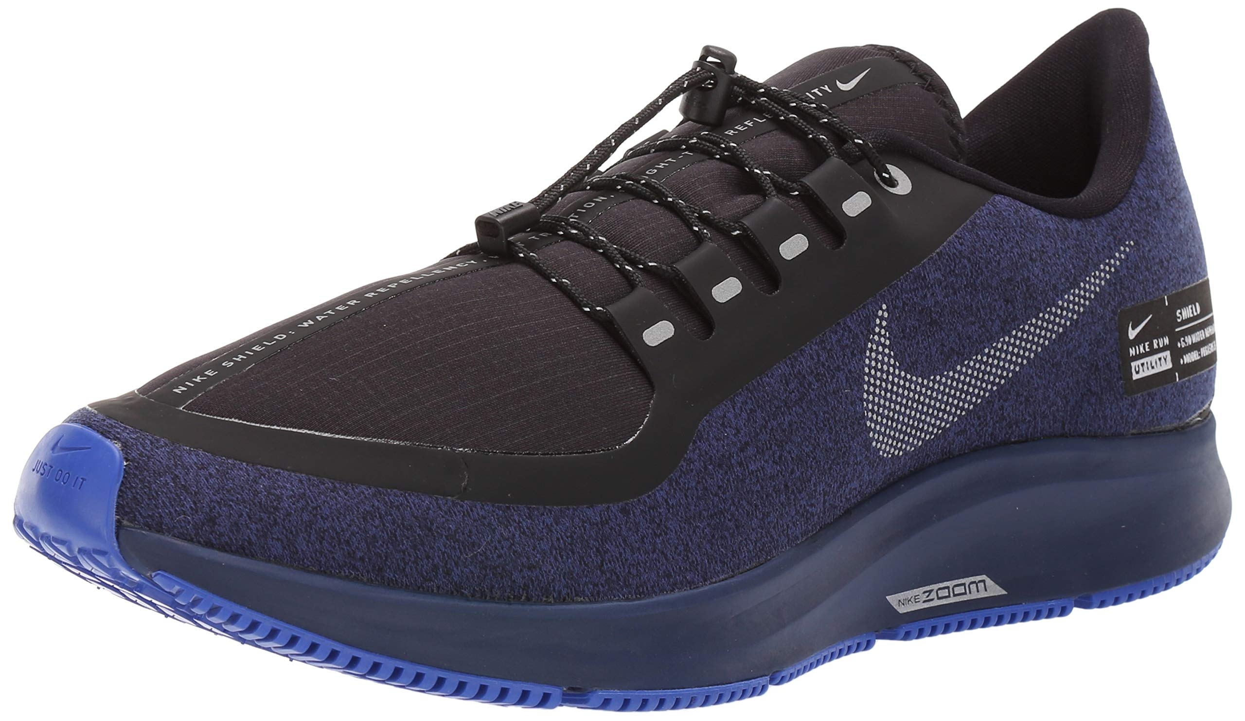 huge selection of 6f356 d3df7 Nike Air Zoom Pegasus 35 Shield Men's Running Shoe Black/Metallic  Silver-Blue Void 14.0
