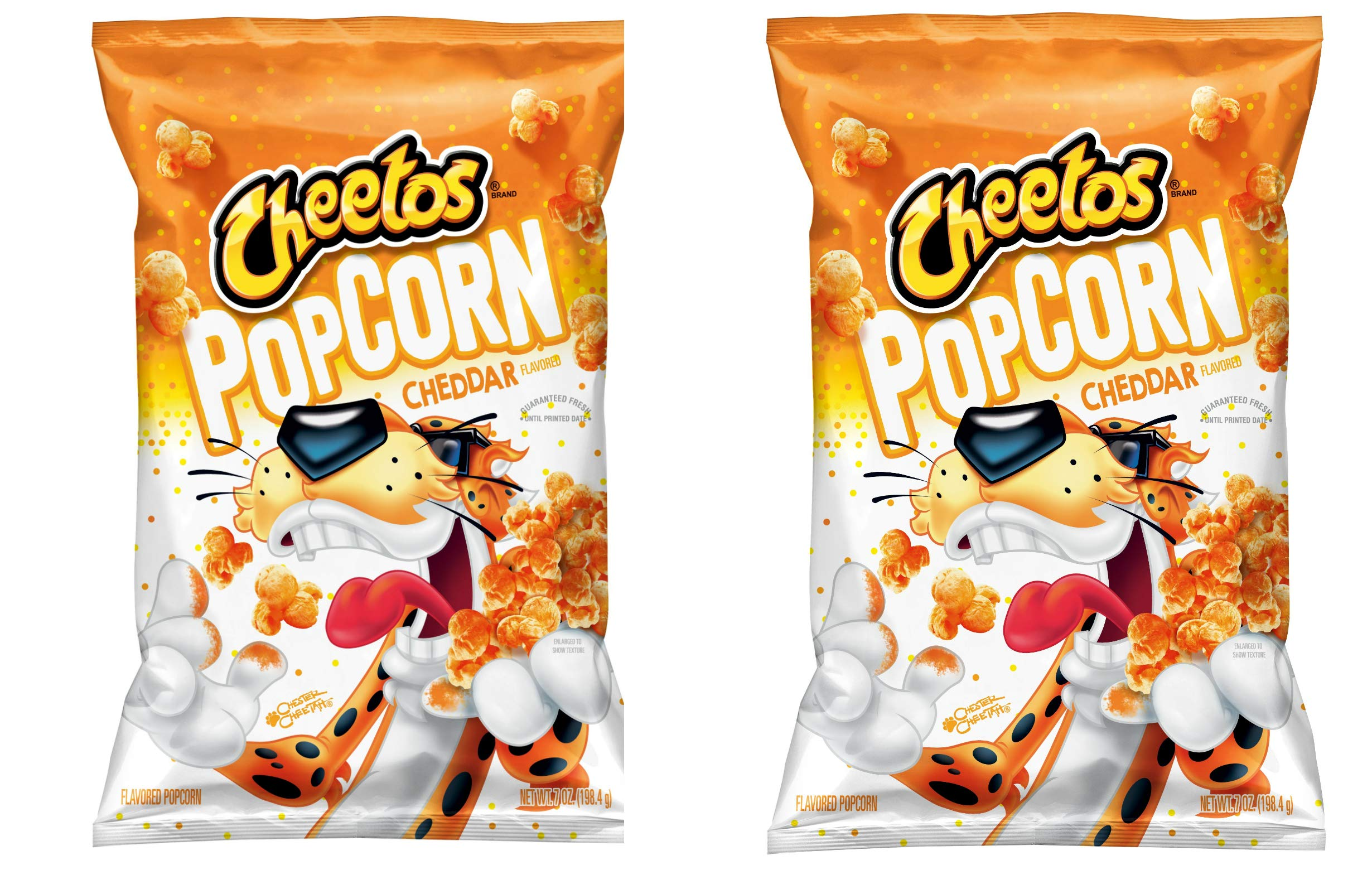 Cheetos Cheddar Popcorn 7oz. Two Pack. Ready to Eat Popcorn Snack