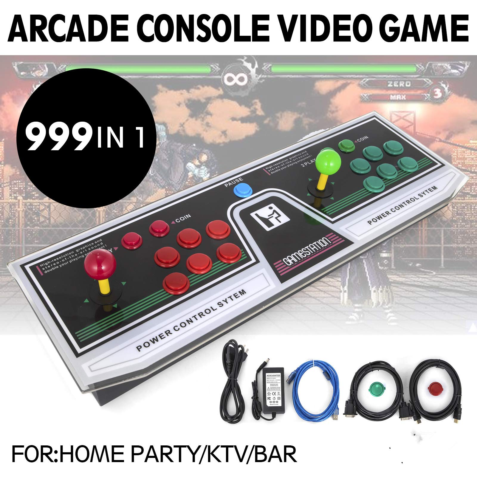Happybuy Arcade Game Console 1280P Games 1500 in 1 Pandora's Box 2 Players Arcade Machine with Arcade Joystick Support Expand Games for PC / Laptop / TV / PS4