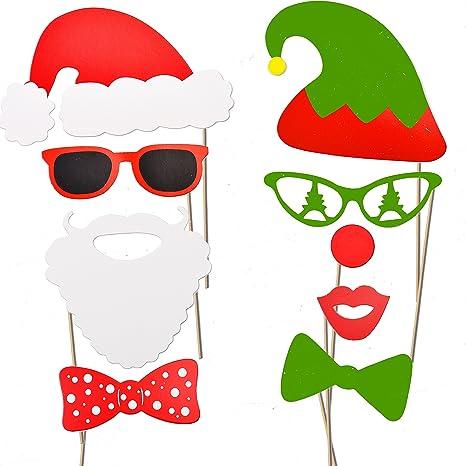 JOYIN 66 Pcs DIY Photo Booth Atrezzo Adornos Graciosos para Fotos de Navidad C/ómica Divertida Creativa Bigotes Gafas Pelo Sombreros Labios para Partido Navide/ño