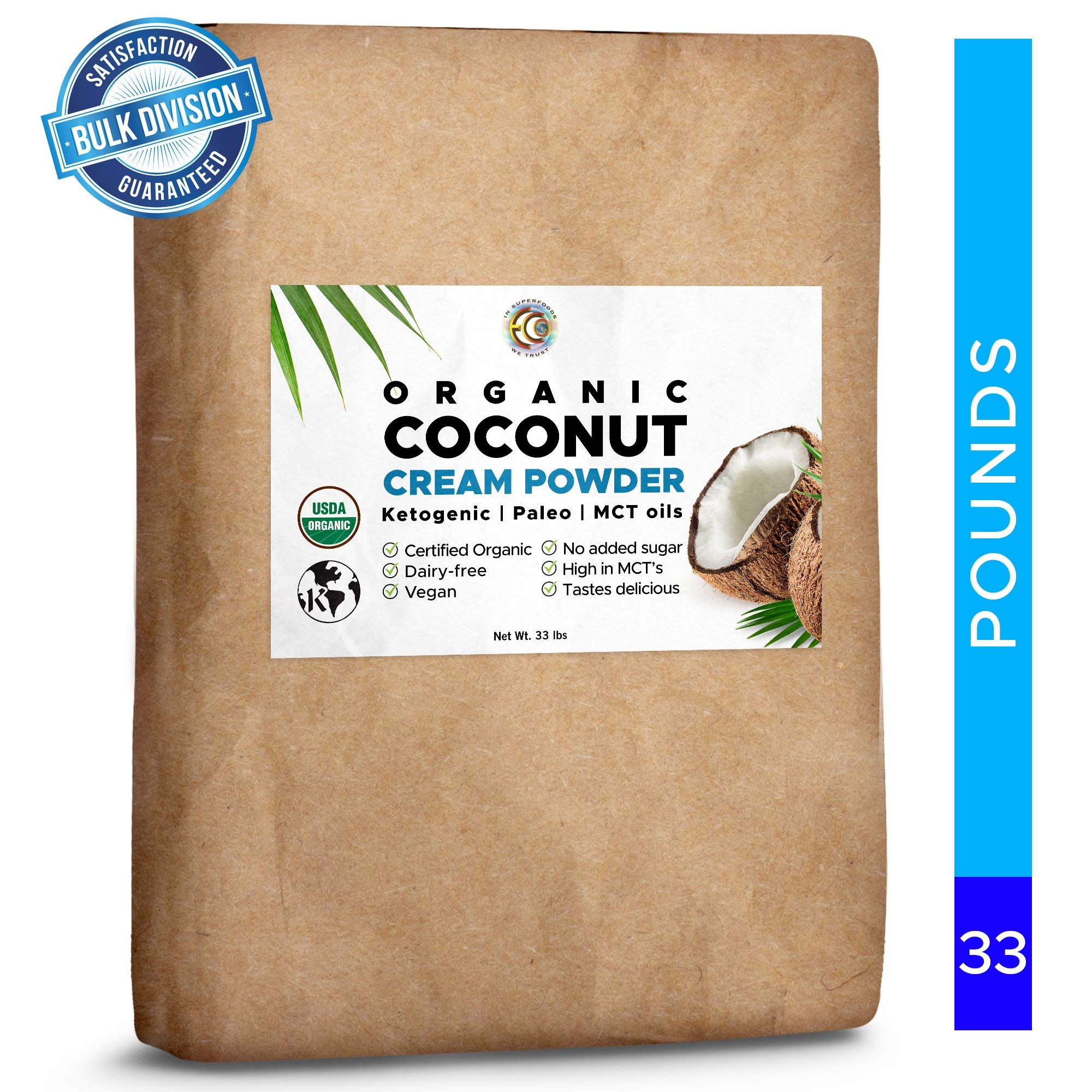 Earth Circle Organics - Organic Coconut Cream | Milk Powder, Perfect Keto Coffee Creamer - High in MCT Oil, Vegan, No Added Sugar, Vegan, Gluten and Dairy Free - (33 lbs) by Earth Circle Organics
