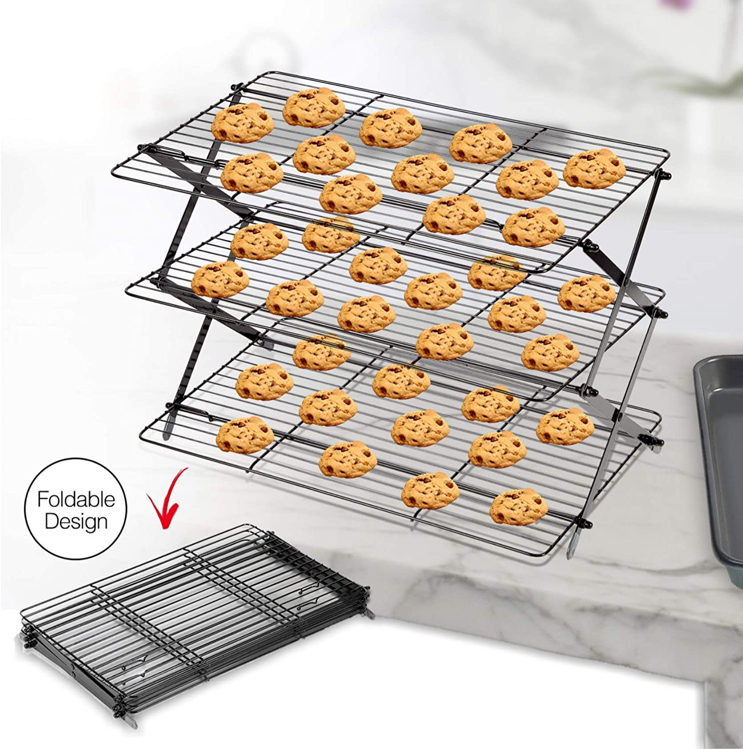 3-Tier Collapsible Cooling Rack Expandable & Collapsible Cookie Cooling Wire Rack Baking Rack Foldable Cooling Racks For Baking Premium Quality And Sturdy Legs Ideal For Baking Supplies
