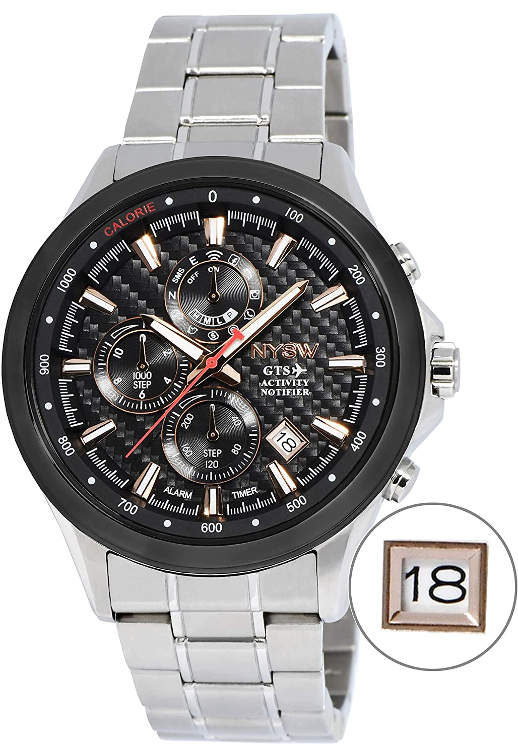 NYSW - Worlds 1st Hybrid Smartwatch for Men with Perpetual Calendar. This Luxury Fitness Tracker with Direct Steps Reading on Dial Advanced Discreet ...