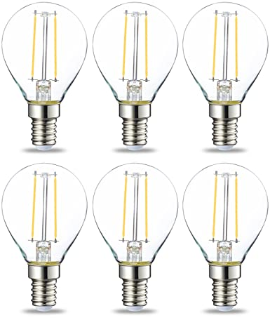 AmazonBasics Bombilla LED E14, P45, 2W (equivalente a 25W), Filamento-