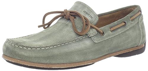 Geox U Luca A MLUCA1 - Mocasines de Cuero para Hombre, Color Verde, Talla 45: Amazon.es: Zapatos y complementos